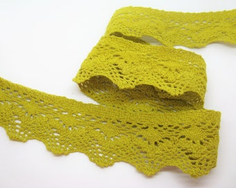 Binding lace cotton mustard yellow width 4cm same as front/back - ref 27
