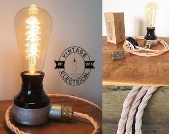 Le millésime léger de câble de couleur cuivre Barford en bakélite table industrielle edison filament steampunk uk plug en laiton glande cordon rustique e27 es