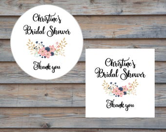 Bridal Shower Sticker - Bridal Shower Favor Label - Personalized Thank You Sticker - Customized Bridal Shower Label