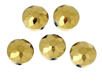 10 Gold Faceted Flying Saucer Shimmer Beads (14mm)