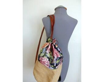 SALE Vintage 80's large drawstring basketweave and floral satchel