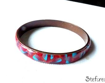 """Bracelet métal   pâte polymère """"rouge et bleu"""""""