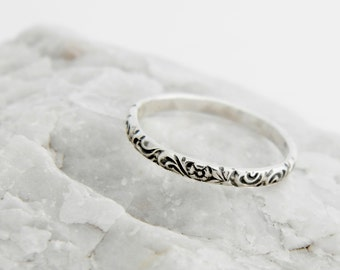 Silver band ring, carved silver band ring, Sterling silver floral ornament ring