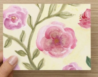 Pink Flowers with Vines Greeting Card