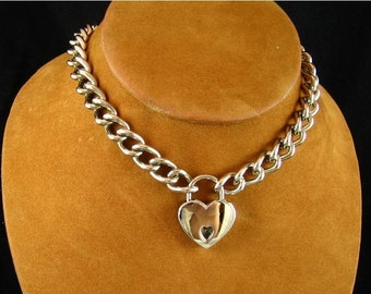 Chain Choker with Heart Padlock
