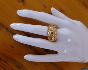 Vintage Avon Gold Tone Ring with Cut Out Filigree Design, Gift for Her, Christmas Gift, Vintage Jewelry