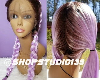 BraidedLavender ombre lace front wig Brown roots