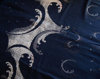 Beautiful fabric japoanis cotton crepe blue indigo traditional 116 cm