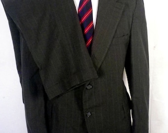 vtg 50s 60s Brookford Clothes Bold Green Chalkstripe Light Wool 2 Pc Suit 42 S