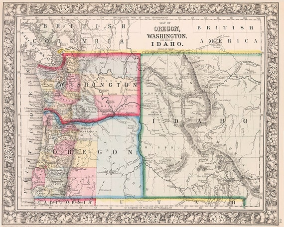 1800s Pacific Northwest Map Print on Color The Stars 5 Coloring Page