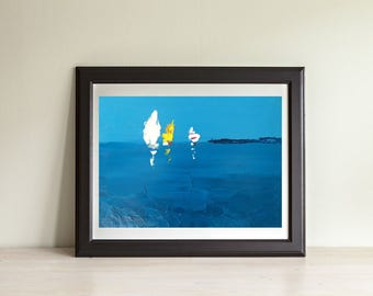 Abstract Sailboats Painting Ocean Painting Oil on Canvas Sailboat Ocean Art Sea Painting Abstract Blue Modern Painting Gift for Him Husband