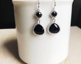 Black earrings, black jewelry, onyx jewelry, black dangle earrings, modern jewelry, black drop, silver earrings, bridesmaids earrings, gift