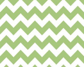 Fabric by the Yard -- Riley Blake Medium Chevron in Green 1 yard
