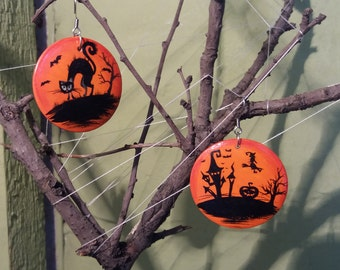 Halloween Earrings  Halloween jewelry Halloween costume Gift for her Painting Wood Jewelry Painting jewelry