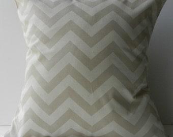 New 18x18 inch Designer Handmade Pillow Case in white on natural chevron pattern.