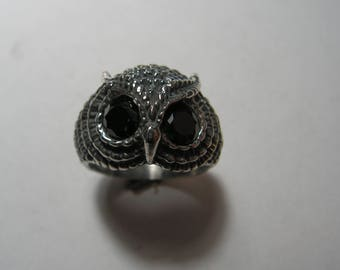 Owl Ring Black Onyx With Sterling Silver