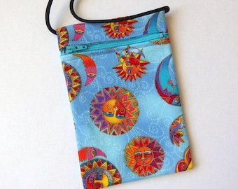 """Pouch Zip Bag SUN MOON Blue Fabric. Great for walkers, markets, travel. Cell Phone Pouch Small Fabric evening Purse. gold accents. 6.5x4.25"""""""
