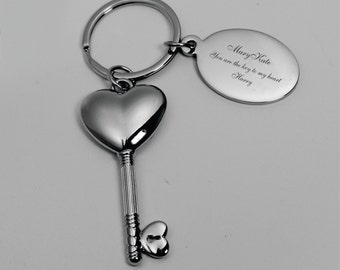 Personalized Key to My Heart Key Chain Custom Engraved Free