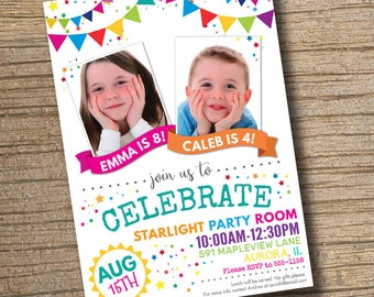 Sibling birthday etsy joint combined birthday party invitation stopboris Image collections