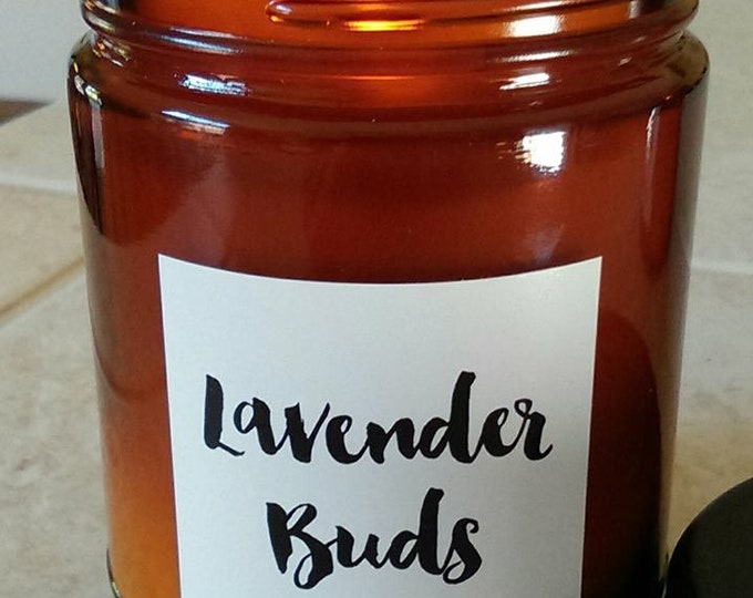 LAVENDER BUDS -Limited Edition - Natural Soy Wax  Candle in Amber Jar with Black Lid 9 oz