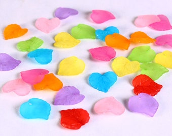 Mixed color frosted leaf beads -  leaves resin beads - mixed color beads - 16mm x 15mm (642)