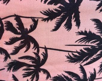 100% rayon challis Palm trees on Tuscan pink background