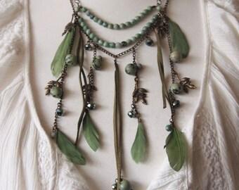 Multi Strand boho Beaded Necklace, (hand)made of Jasper, Womens GIFT, Long necklace , gem necklace, boho necklace, hippy necklace, Jewelry