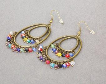 Positivity gift gypsy jewelry statement jewelry gypsy earrings chandelier jewelry Boho jewelry colour earrings big earrings hoop Earrings