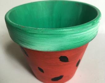 Watermellon Painted Flower Pot