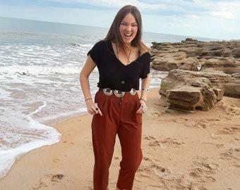 Vintage High waisted Brown pants, 80s high waisted Brown slacks
