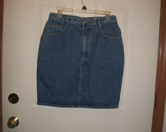Vintage 80's Jordache Blue Denim High Waist Skirt,Jean Skirt Size 12