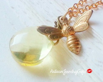 Honey Drop Bee Necklace Gold Bee Necklace Honey Bee Necklace Gold Bee Charm Necklace Mother's Day Gift Handmade Jewelry Women's Gift