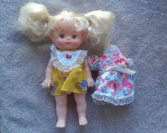 Vintage doll baby  ,1990's doll baby, Doll Baby   ,Vintage  doll, Doll with yellow dress, blonde hair doll