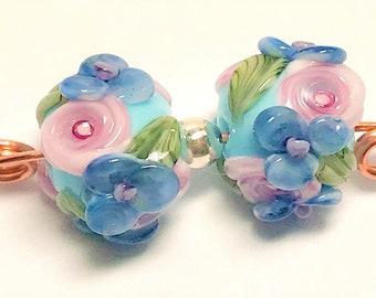 Faerie~Orbs, lampwork beads, pair
