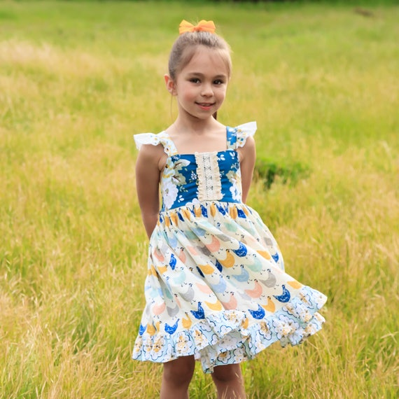 Girls Chicken Twirl Dress - Chicken Dress - Farm Dress - Country Dress - Back To School Dress