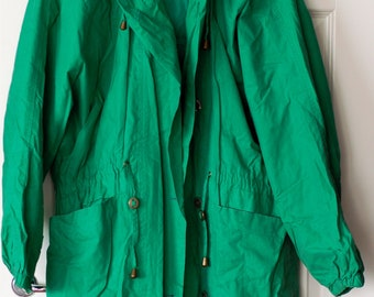 80s bright green rain coat