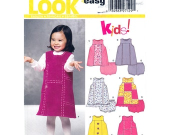 Girls Sewing Pattern Jumper Dress & Panties Pattern New Look 6311 Sunsuit Toddler Size 1/2 to 4 Pattern