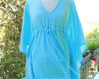 Mini Caftan Dress - Beach Cover Up Kaftan in Baby Blue Cotton Gauze - Lots of Colors