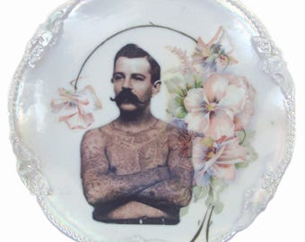 SALE - Damaged - The Tattooed Man Portrait Plate 6.25""