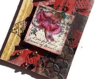Asian Inspired Art, Japanese Art, Asian Mixed Media, Original Collage, Collage Art, Asian Wall Hanging, Japanese Decor, Asian Decor Art
