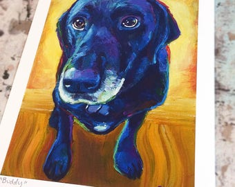 "8.5"" by 11"" Black Labrador Art Print by Robert Phelps**Black Labrador, Labrador Art, Black Lab, Black Labs, Black Lab art, black dog, colors"