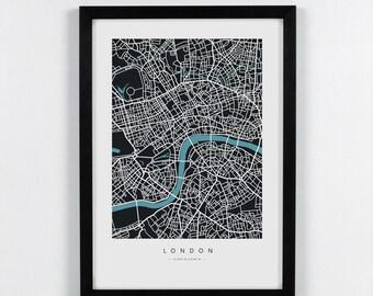 London, England - City Map Art Print - A2, A3, A4. Graphical Home decor map