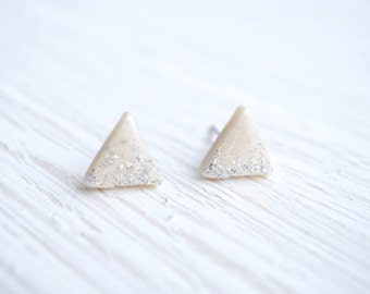 White and Silver Glitter Geometric Triangle Stud Earrings