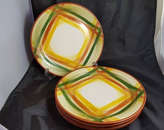 6 Vernonware Homespun Luncheon Plates