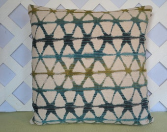 Geometric Pillow Cover in Blue Teal Olive Beige / Blue Beige Pillow / Accent Pillow / Decorative Pillow / 18 x 18 Pillow
