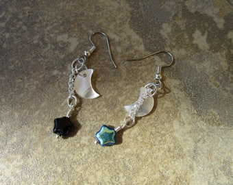 Black Lip Shell Crescent Moon Earrings with Jablonex Czech Glass Stars~Pagan~Goddess~Ritual Jewelry~Set #2
