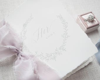 Wedding Vow Books, Vow Booklet, Hand Torn, Silk Ribbon, Our Vows, Personalized Vows, Bridal Shower Gift, Engaged, Wedding Gift -Customizable