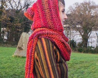 Red tones pixie hooded scarf