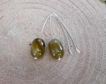 Green Glass Bead Elbow Bend Drop Earrings Fine Silver Hooks