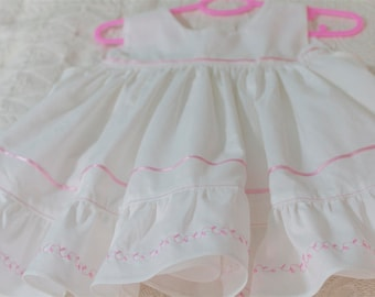 Festive baby dress in white pink baptism